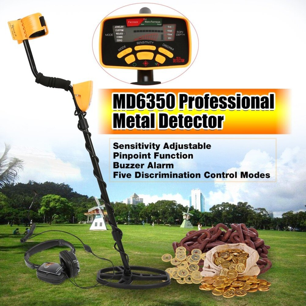 FR <font><b>MD6350</b></font> Professional Underground Metal Detector Handheld Treasure Hunter Gold Digger Finder With Headphone LCD Display image