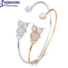 2017 HONGHONG Fashion bracelets & bangles for Women Cubic zirconia 3 Color bracelets jewelry bangles Wedding Party for Vacation