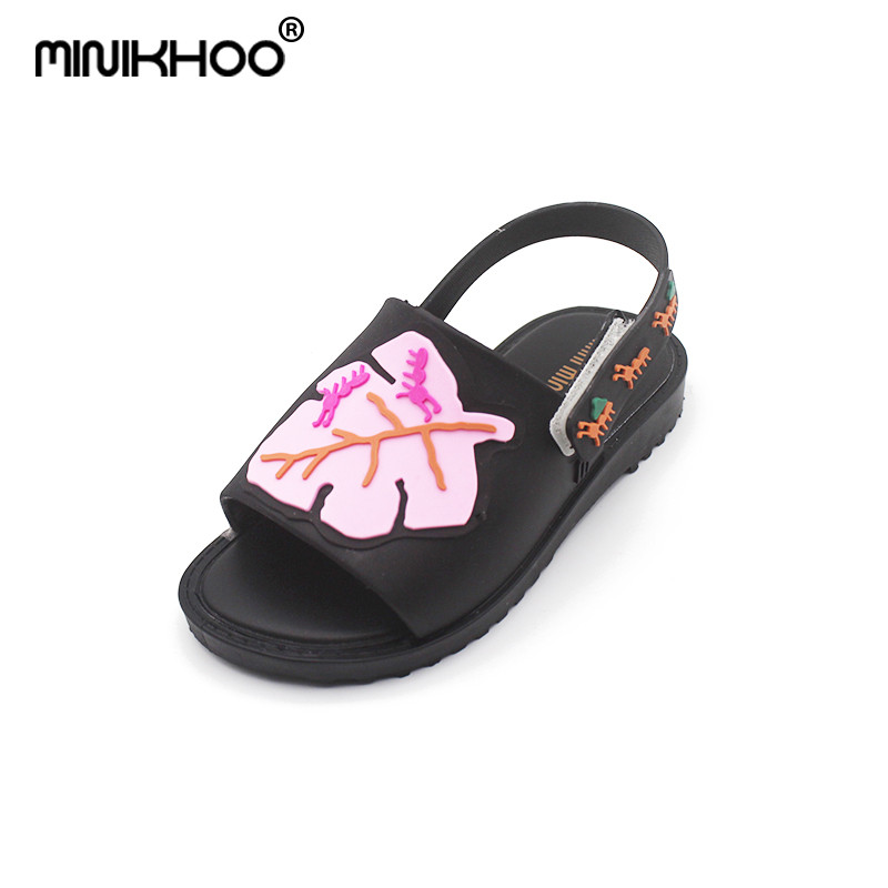 Mini Melissa Leaves Ant Jelly Sandals Girl Jelly Shoes 2018 Summer New Boy Sandals Girl Melissa Beach Shoes Children Sandals
