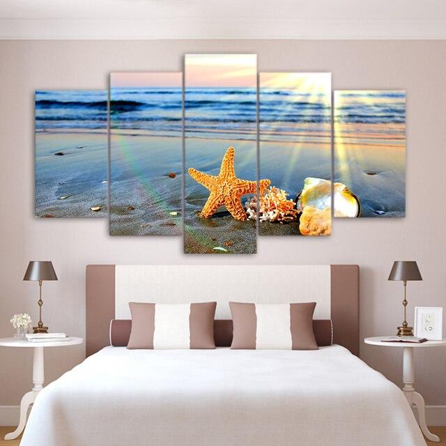 Hd impresso modular cartaz 5 pe as praia mira onda do mar for Poster arredo casa