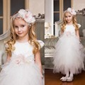 Cute Tulle Short Sleeve Girls Pagent Dresses 2015 First Communion Dresses For Girls Children Graduation Gowns Imported China