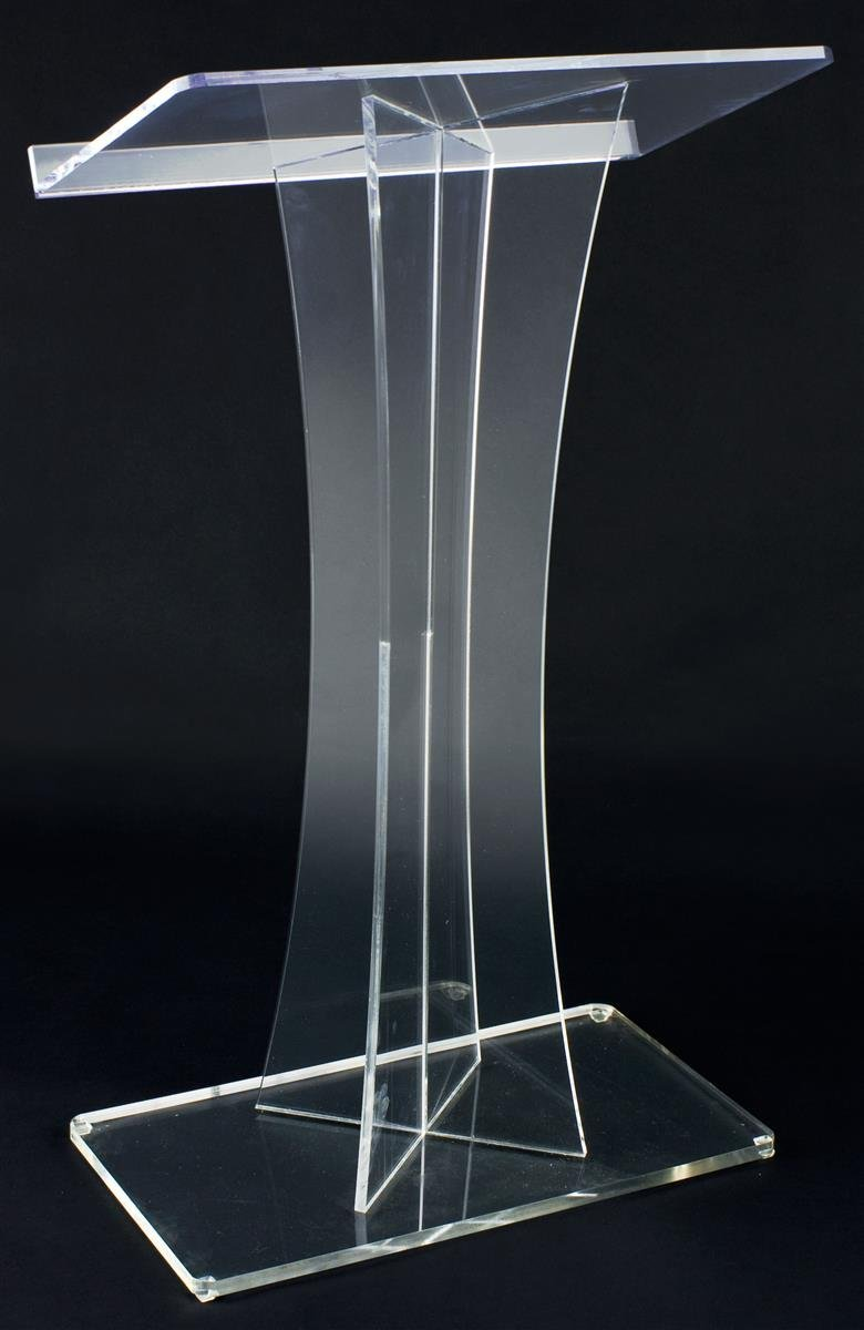 Acrylic Conference Podium, Clear Speaker's Lectern With Base And Lip (LECTX)