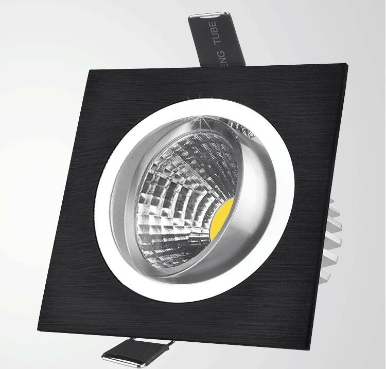 10 шт. квадратный яркий Встроенный, светодиодный, затемненый квадратный потолочный светильник COB 7 Вт 9 Вт 12 Вт Светодиодный точечный светильник декоративный потолочный светильник AC 110 В 220 В