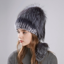 LTGFUR 2018  Winter Fashion New Women's Hats With Real Fox Fur Hat Pom Poms Winter Hats Warm Knitted Cotton Beanies Female Cap