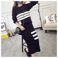 Women knitted skirt set Korean autumn winter OL Two Piece Set crop top and skirts slim OL wearing Elastic Waist