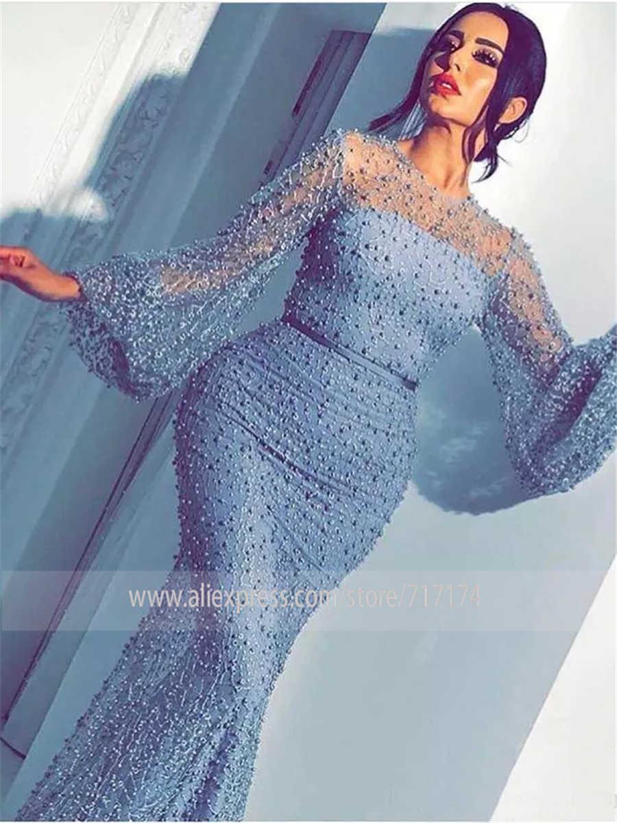 Luxo pesado pérolas vestido de baile abita da cerimonia da sera formal mangas compridas alta qualidade sereia vestidos de noite