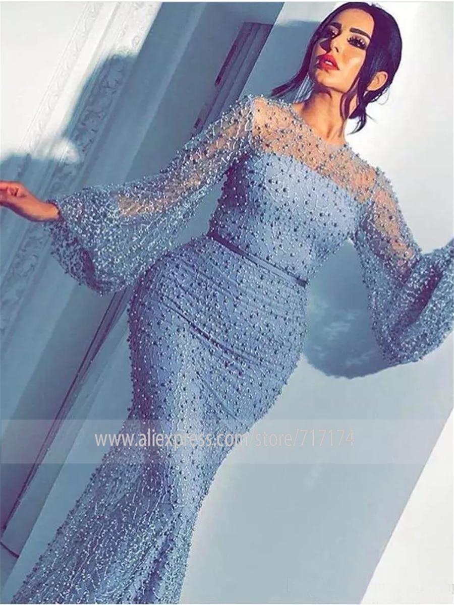 Luxury Heavy Pearls Prom Dress abiti da cerimonia da sera Formal Long Sleeves High Quality Mermaid Evening Dresses