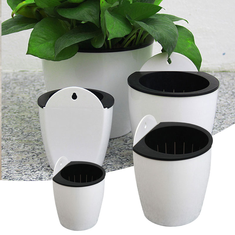 SOLEDI Automatic Water-absorbing Flower Pot Hydroponics Wall-mounted Plastic  Home Wall-mounted Potted Plant Bonsai Mini Garden