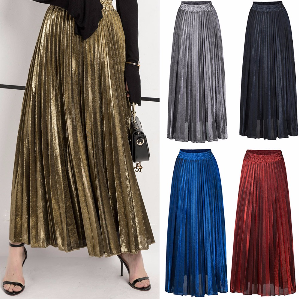 Coldker skirt Women's Elastic Waist Retro Luster Elegant Metallic Pleated A Line Maxi Skirts