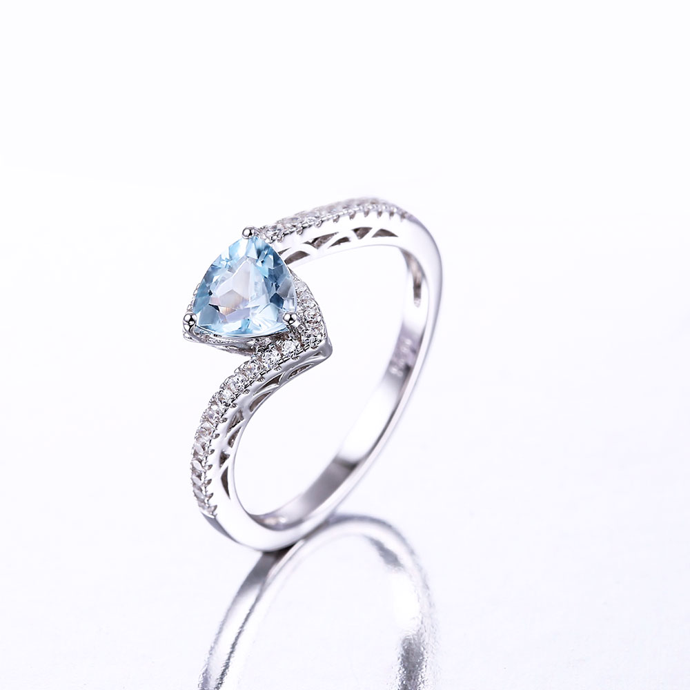 DOUBLE R 1 0ct Natural Blue Topaz Gemstone 925 Sterling Silver Ring Embroidery in Rings from Jewelry Accessories