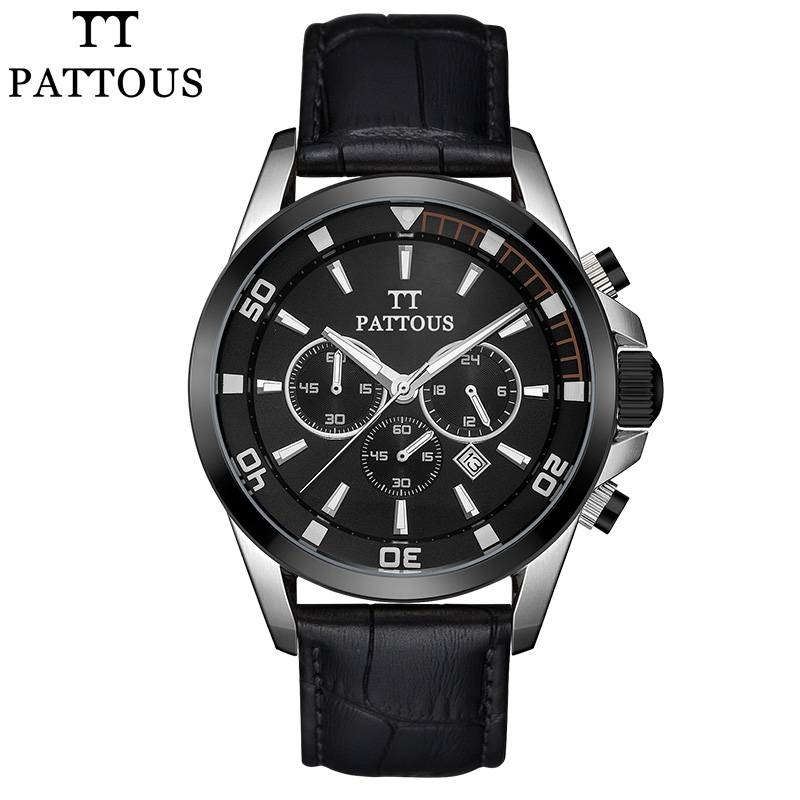 PATTOUS Mens Sports Watch Black Genuine Leather Chronograph Dial Date Sport Quartz Watches Miyota Quartz Wrist