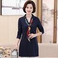 4XL Плюс размер весна футболки Сплошной цвет V-образным Вырезом рулевой женщины футболка 2017 новая мода полный рукав дамы элегантные футболки топы