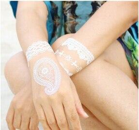 12 hojas nuevo encaje blanco Henna tatuaje pegatina tótem mariposa - Tatuaje y arte corporal - foto 2