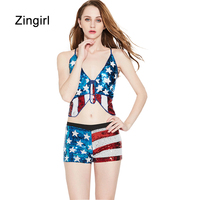 Zingirl Star Chic Print Sequined Brassiere Bralettes Flag Backless Cross Patchwork Push Up Bras Intimates Sexy