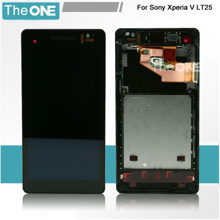 New Touch Screen Digitizer Assembly Lcd Display for Sony Xperia V LT25 LT25i Black for Replacement with Frame Free Shipping