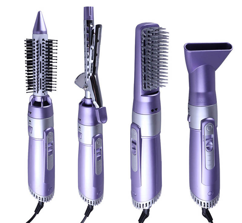 Perm blower comb multifunctional 4 fold 1 roll straight dual purpose hot air comb professional hair dryer curls