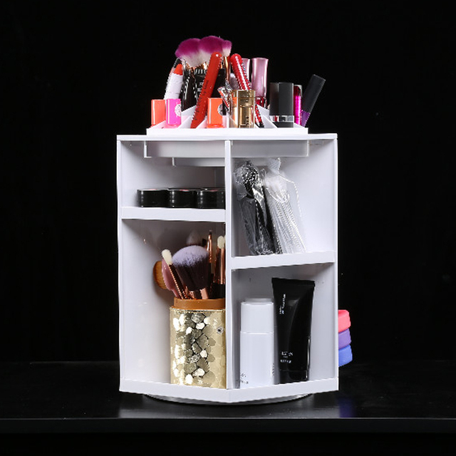 360 Degree Rotate Makeup Organizer Plastic Storage Box Cosmetic Make