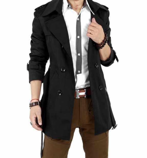 Распродажа! Новые осенние Для мужчин тонкий сексуальный двойной Пуговицы Разработанный капюшоном куртки Для мужчин Тренчи для женщин Пальто для будущих мам длинные Костюмы Бесплатная доставка Оптовая продажа 5Z