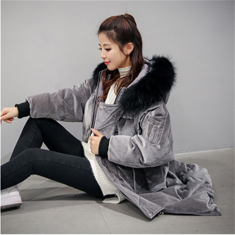 Women Winter Coat Large Fur Collar Hooded Velvet Thick Warm Loose Padded Parka Female Outerwear Large Jacket Overcoat Female цены онлайн
