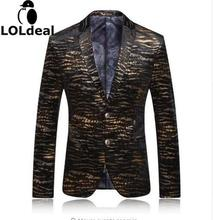 Loldeal Blazer Men 2018 Brand Mens Leopard Print Blazer Casual Gold Blazers Stage Costumes For Singers Vintage Prom Suits
