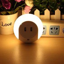 Double USB Induction Sensor Control Light Intelligent LED Night Light Bedside Wall Plate Charger EU Plug AC220V
