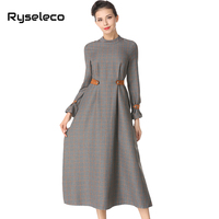 Ryseleco Women Autumn Winter Vintage Long Sleeve Dress Slim Casual Retro Style Work Lady Vestidos Empire