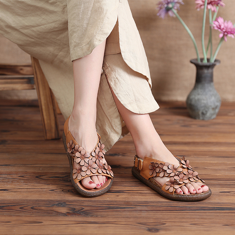 Genuine Leather Sandals Women Flower Slip-on Summer Shoes Casual Leather Sandal For Women Handmade Low Heels Wedges Shoe Retro 2017 women thick heels sandals flower ethnic style summer handmade genuine leather shoes personalized women sandal