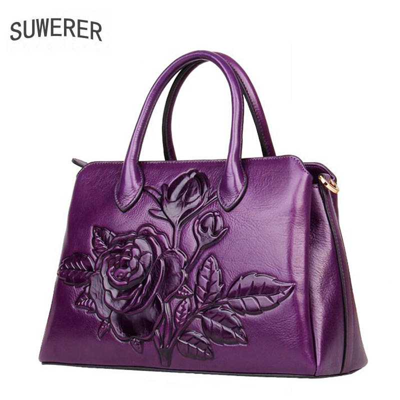 2018 New Superior Cowhide Time-limited Polyester Silt Pocket Women Genuine Leather Handbags Tote Rose Flower Luxury Bag