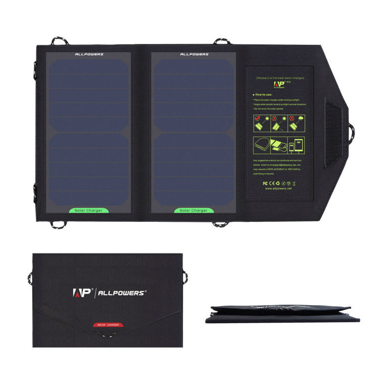 ALLPOWERS 10W Solar Cell Charger Solar Panel Battery For Mobile Phone Cellphone Water Resistant Folding Charging Bag