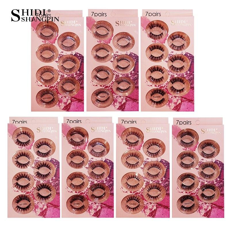 SHIDISHANGPIN 7 Pairs 3d Mink Lashes Hand Made Natural Long False Eyelashes Volume Fake Eyelash Extension Makeup Soft Fluffy