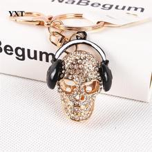 New Creative Skeleton Headphones Music Crystal Charm Pendant Purse Bag Key Ring Chain Lovely Fashion Gift High-quality