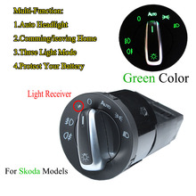 Green Golf Mk4 Light Switch AUTO Headlight Switch Light Sensor Module Upgrade Chrome For Skoda VW Golf 4 Jetta MK4 Passat B5 auto headlight chrome panel switch plug for vw polo golf 4 jetta mk4 passat b5 polo