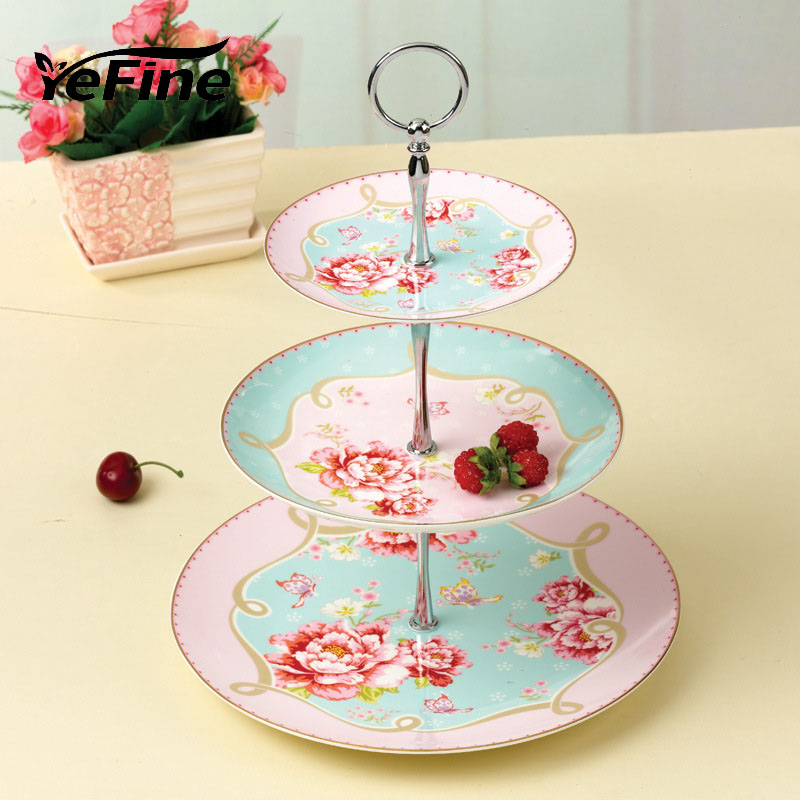 Yefine royal bone china 3 tier ceramic pastry dishes and for Kitchen set royal surabaya