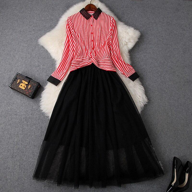 Mode rayé Crop chemise haute et Net Yarm jupe costume 2 pièces ensemble femmes 2019 nouveau recadrée Blouse + noir jupe deux pièces ensemble