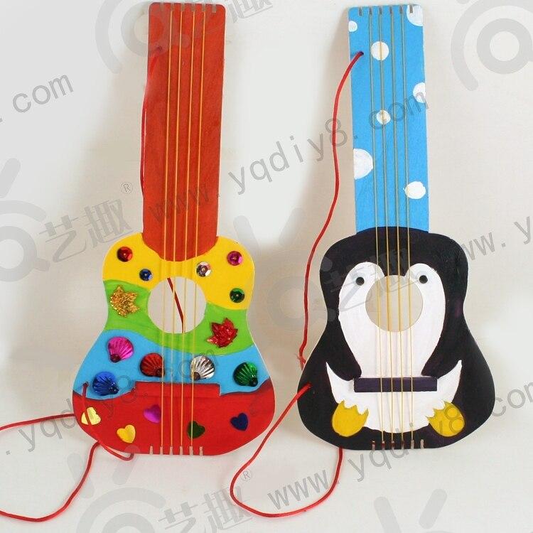 2pcs Wooden Diy Guitar Drawing Board Kid S Kindergarden Handmade