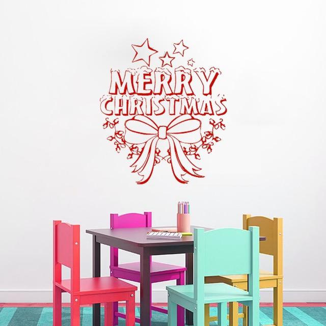 Wall decals merry christmas star decorations bow decal vinyl sticker bedroom nursery home decor art murals