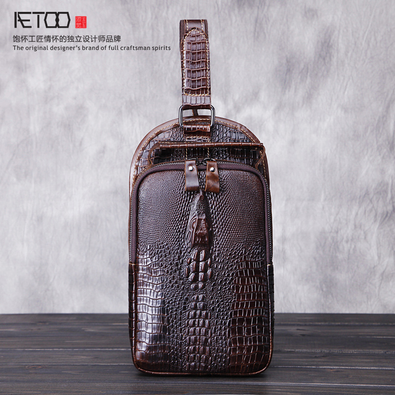 ФОТО Crocodile pattern chest bag male head layer of leather men bag cowhide men fashion leisure Messenger bag tide