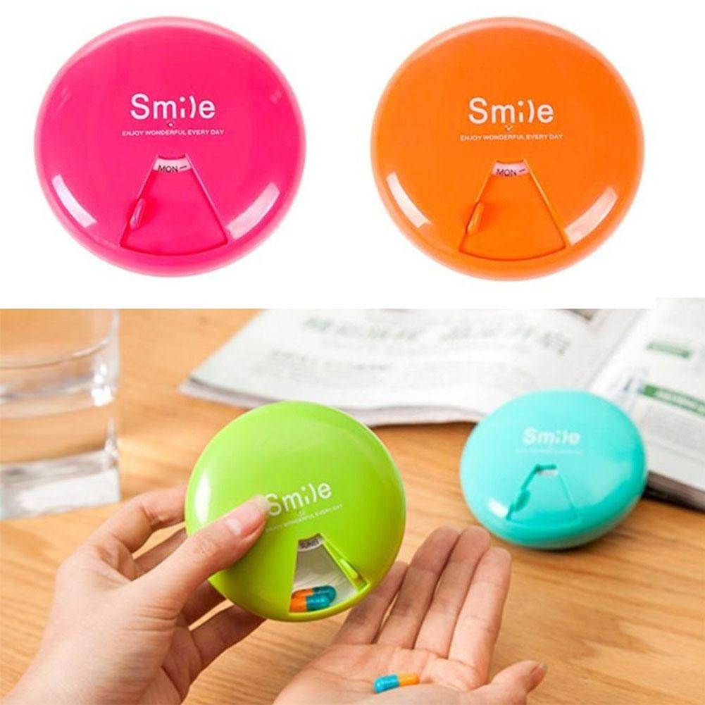 Portable Smile Letter Print Rotatable Pill Box Medicine Storage Case Container new