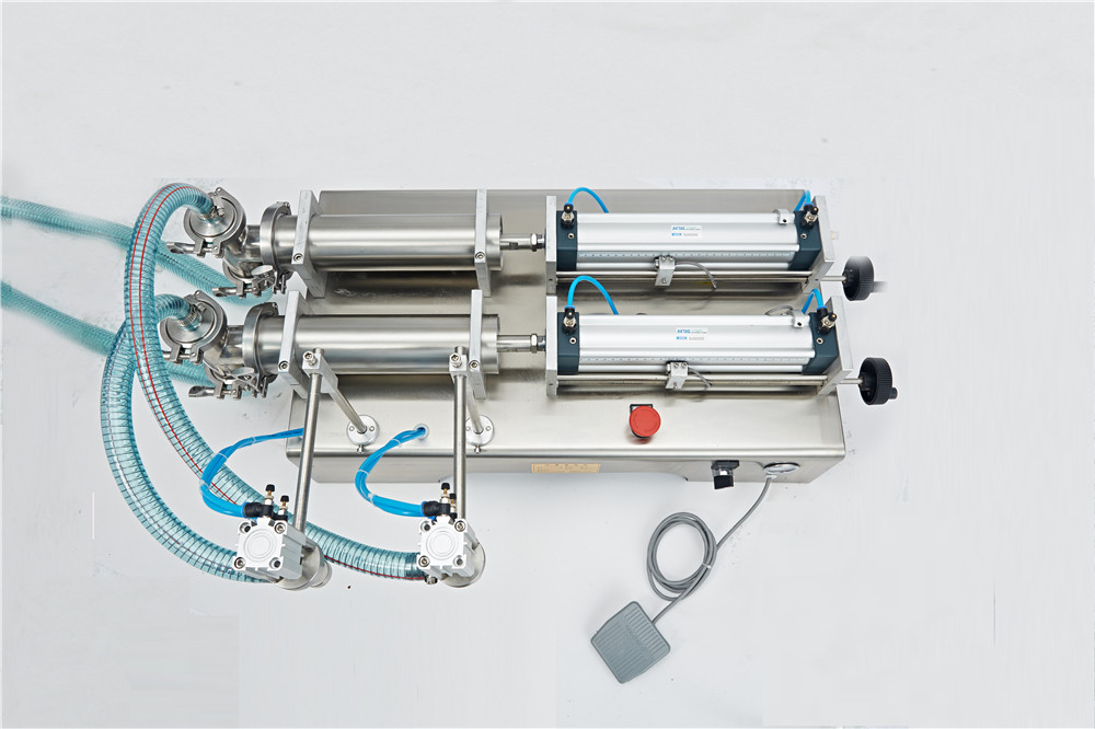 Double Head Liquid Filling Machine Horizontal Pneumatic Semi-automatic Piston Filling machine 220V/110V 50Hz/60Hz double hopper stainless steel semi automatic food chemical particle filling machine