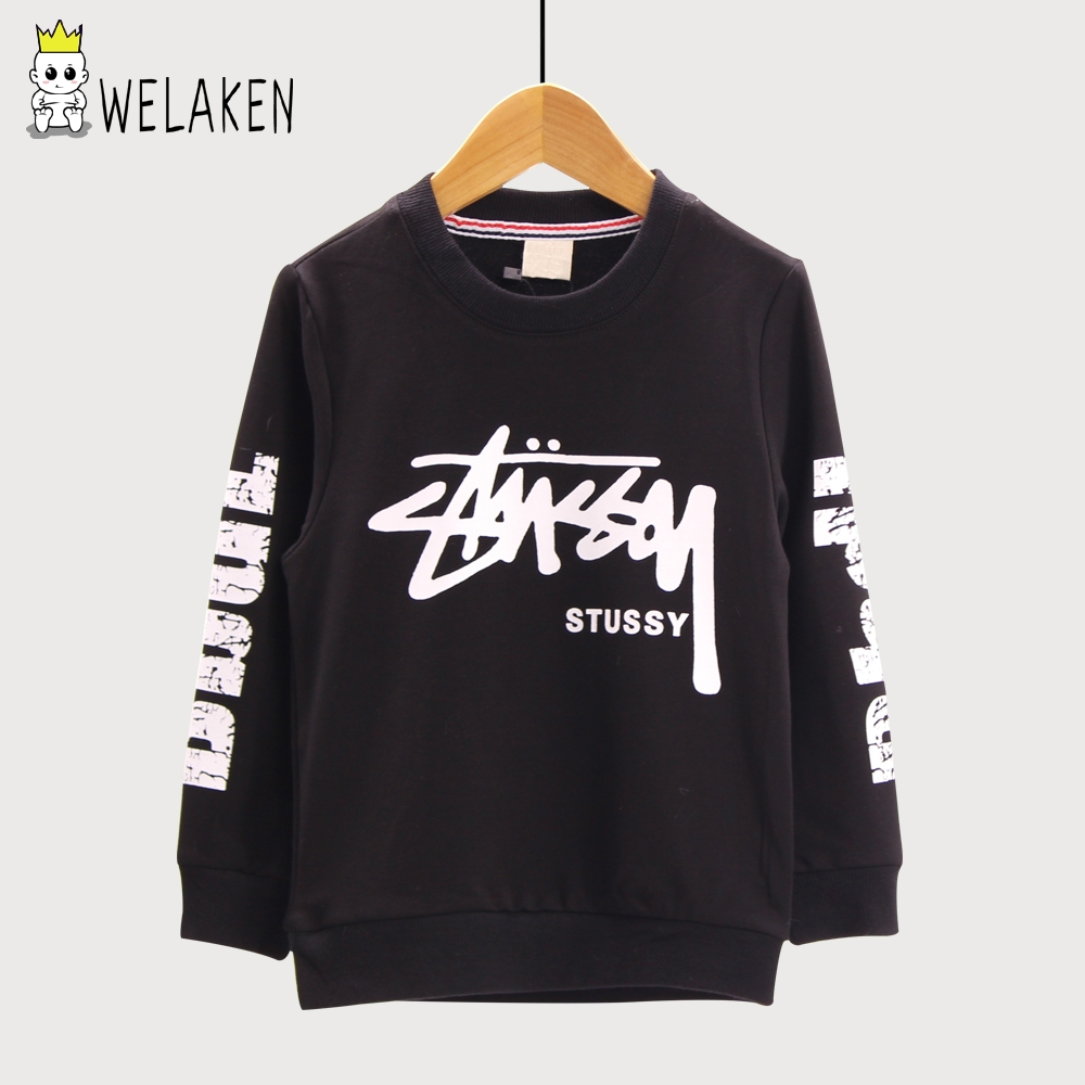 weLaken 2017 New Casual Boy's Hoodies Letter Print Long Sleeve T-shirt Spring Autumn Children's Clothing Kids Sweatshirts
