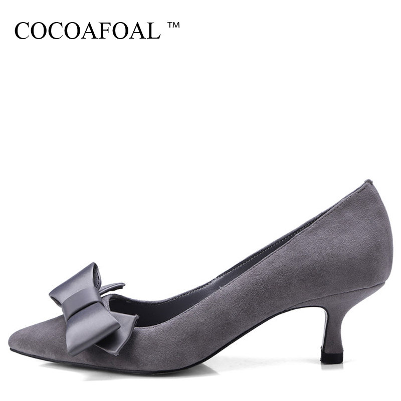 COCOAFOAL Woman Butterfl Pumps Pink Gray Fashion Pointed Toe Sexy High Heels Shoes Party Genuine Leather Wedding Pump 2018 cocoafoal woman pointed toe pumps pink black brown fashion sexy high heels shoes snakeskin genuine leather career pumps 2017