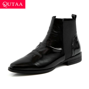 QUTAA 2020 New Autumn Slip on Fashion Women Ankle Boots Genuine Leather Comfort Short Boots Low Heel Wine Red Shoes Size 34-40