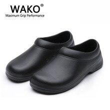 WAKOชายChefรองเท้าผู้ชายรองเท้าแตะสำหรับห้องครัวพนักงานSuper Anti Skidไม่ลื่นไถลรองเท้าสีดำCookรองเท้าความปลอดภัยclogsขนาด36 45
