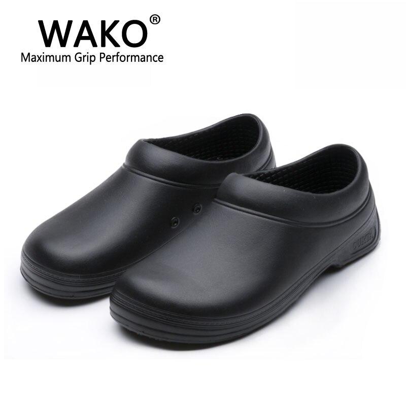 WAKO Mâle Chef Chaussures Hommes Sandales pour Aides de Cuisine Super Anti-dérapage Non Glissant Chaussures Noir Cuire Chaussures Sécurité Sabots Taille 36-45