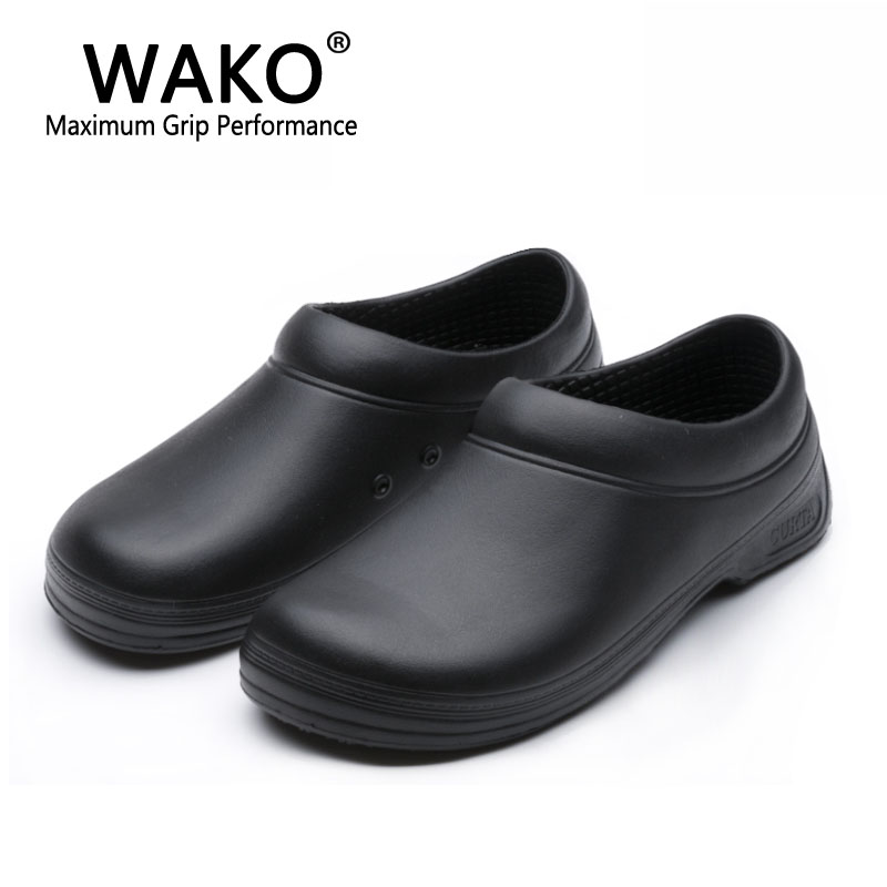 WAKO Male Chef Shoes Men Sandals for Kitchen Workers Super Anti-skid Non Slipping Shoes Black Cook Shoes Safety Clogs Size 36-45 france tigergrip waterproof work safety shoes woman and man soft sole rubber kitchen sea food shop non slip chef shoes cover