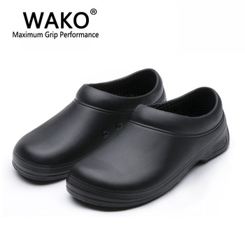 WAKO Male Chef Shoes Men Sandals for Kitchen Workers Super Anti-skid Non Slipping Shoes Black Cook Shoes Safety Clogs Size 36-45 Обувь