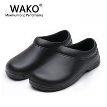 صندل رجالي من WAKO لعمال المطبخ حذاء سوبر مضاد للإنزلاق غير قابل للانزلاق حذاء أسود للطبخ قباقيب أمان مقاس 36 45