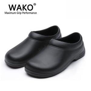 Image 1 - WAKO זכר שף נעלי גברים סנדלי עבור מטבח עובדים סופר אנטי ללא החלקת נעליים שחור לבשל נעלי בטיחות כפכפים גודל 36 45