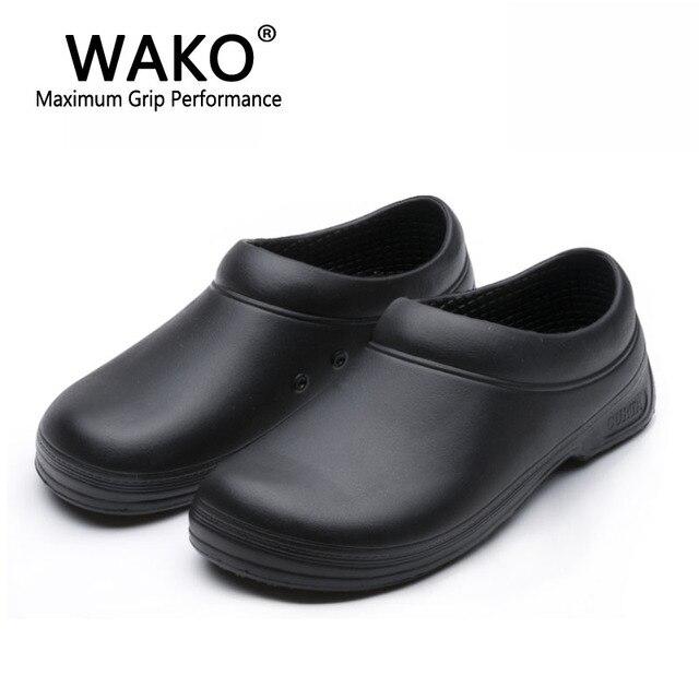 WAKO זכר שף נעלי גברים סנדלי עבור מטבח עובדים סופר אנטי ללא החלקת נעליים שחור לבשל נעלי בטיחות כפכפים גודל 36 45