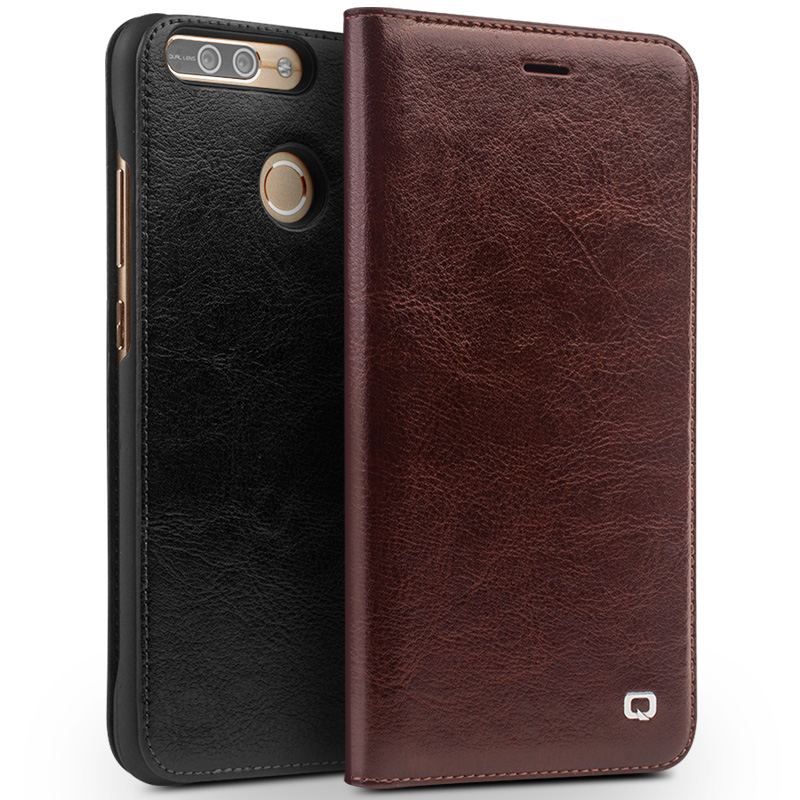 New For Huawei Honor 8 Pro Original QIALINO Brand Natural Calf Skin Genuine Leather Case Phone